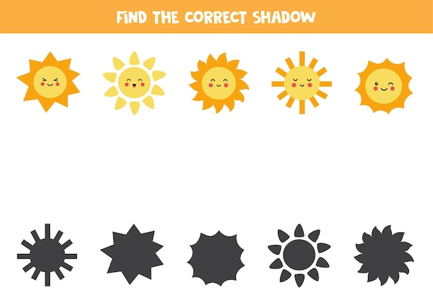 Trouvez la bonne ombre de chaque soleil kawaii mignon. jeu de logique éducatif pour les enfants.