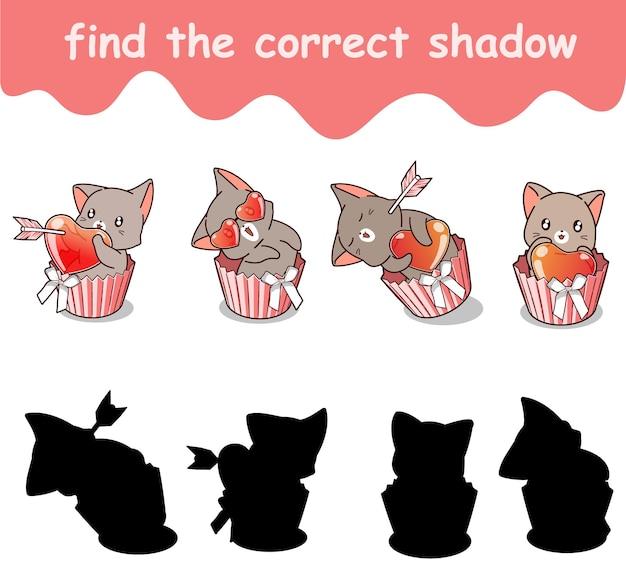 Trouvez la bonne ombre d'un chat adorable avec un cœur à l'intérieur d'un petit gâteau