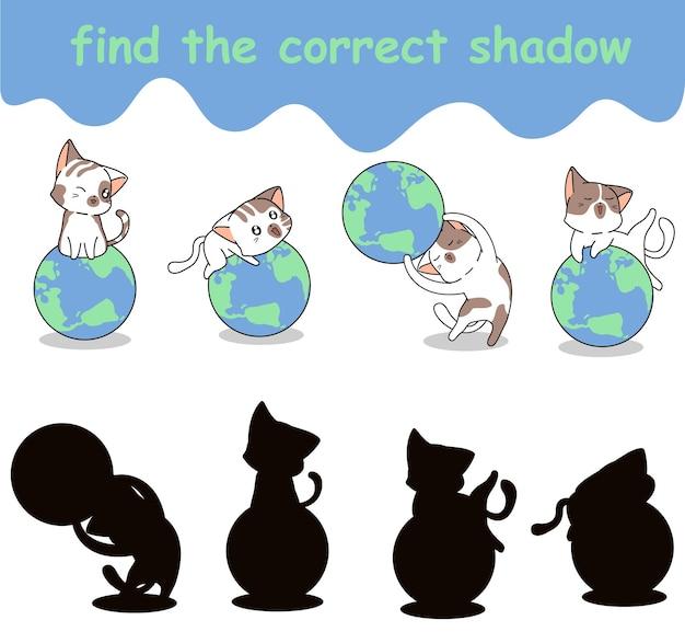 Trouvez la bonne ombre de chat aime le globe
