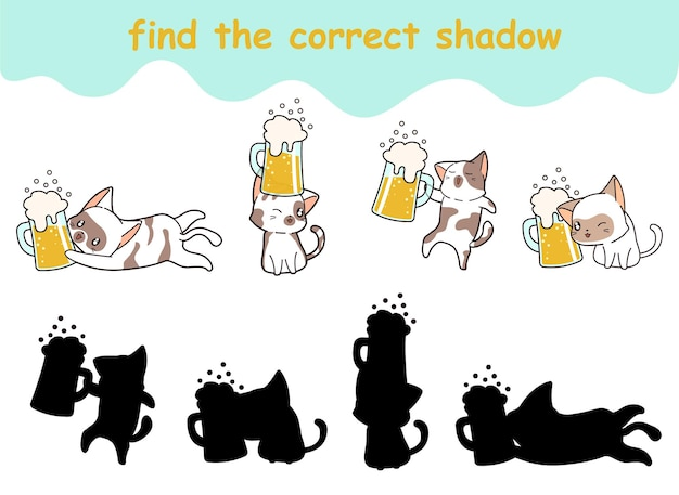 Trouvez la bonne ombre de chat et de bière