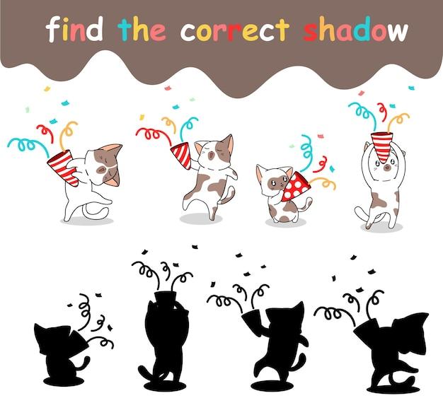 Trouvez la bonne ombre de chat qui célèbre le jour de la fête