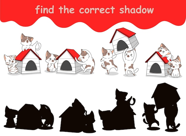 Trouvez la bonne ombre de chats avec une maison en bois