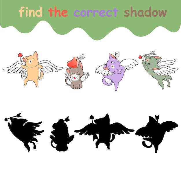 Trouvez la bonne ombre de cupidon chat d'amour