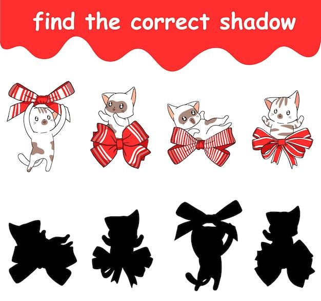 Trouvez la bonne ombre du dessin animé chat et arc