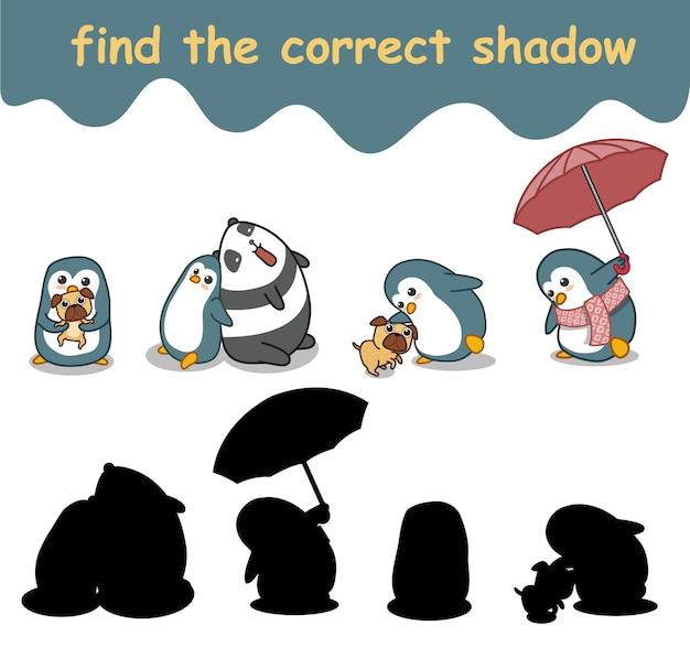 Trouvez la bonne ombre du pingouin et de ses amis