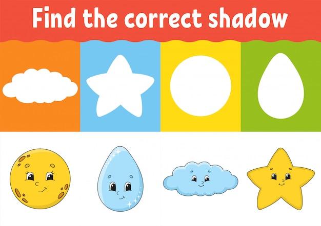 Trouvez la bonne ombre, feuille de travail sur le développement de l'éducation.
