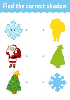 Trouvez la bonne ombre. feuille de travail pour le développement de l'éducation. jeu d'association pour les enfants. page d'activité.