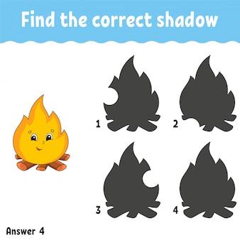 Trouvez la bonne ombre. feuille de travail pour le développement de l'éducation. jeu d'association pour les enfants.