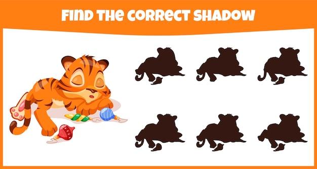 Trouvez la bonne ombre jeu d'association éducatif pour les enfants avec un tigre mignon