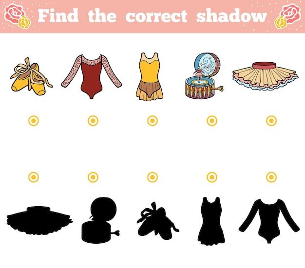 Trouvez la bonne ombre, jeu éducatif pour les enfants. articles de ballet