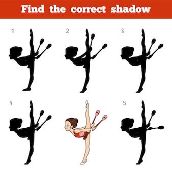 Trouvez la bonne ombre, jeu éducatif pour les enfants, les clubs de gymnaste et de jonglerie
