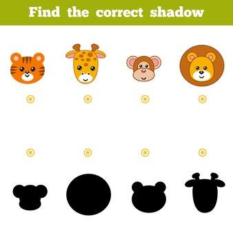Trouvez la bonne ombre, jeu éducatif pour les enfants. ensemble d'animaux de zoo de dessin animé