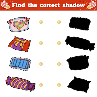 Trouvez la bonne ombre, jeu éducatif pour les enfants. ensemble de dessin animé de vecteur d'oreillers