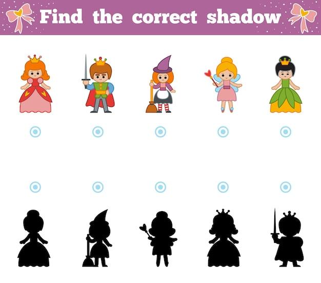 Trouvez la bonne ombre, jeu éducatif pour les enfants. ensemble de personnages de contes de fées de dessins animés