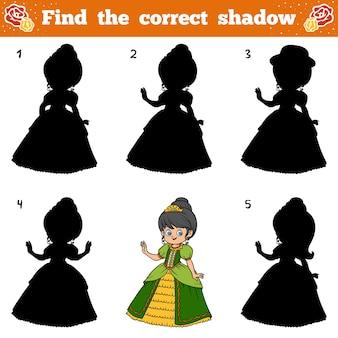 Trouvez la bonne ombre, jeu éducatif pour les enfants. princesse de dessin animé de vecteur