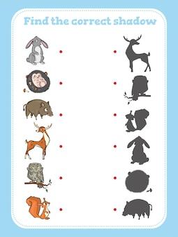 Trouvez la bonne ombre. jeu éducatif pour les enfants