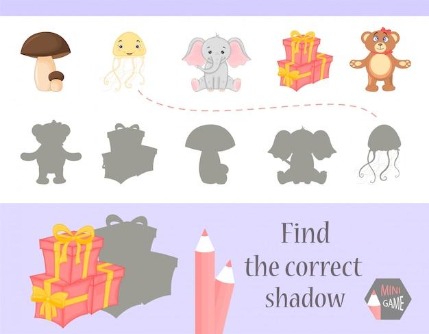 Trouvez la bonne ombre, jeu d'éducation pour les enfants