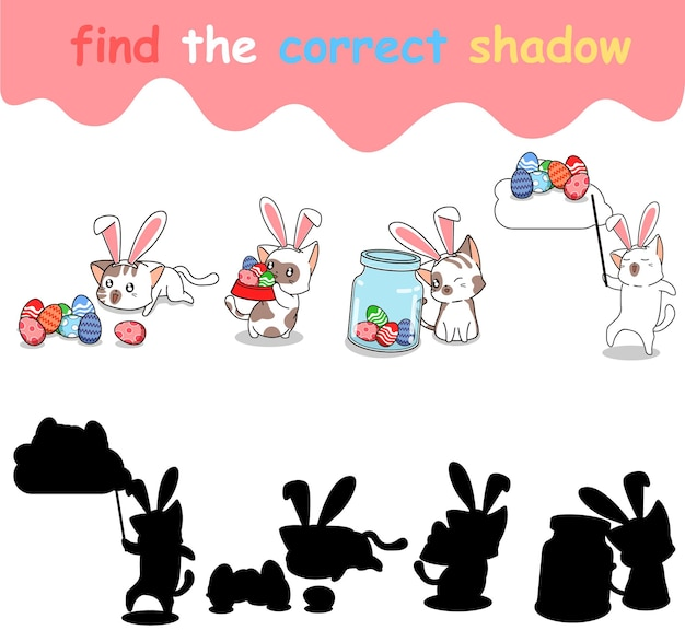 Trouvez la bonne ombre de lapin avec des œufs