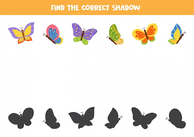 Trouvez la bonne ombre de papillons de dessins animés.