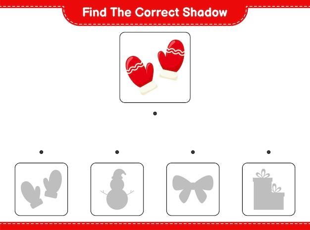 Trouvez la bonne ombre. trouvez et associez la bonne ombre de mitaines.