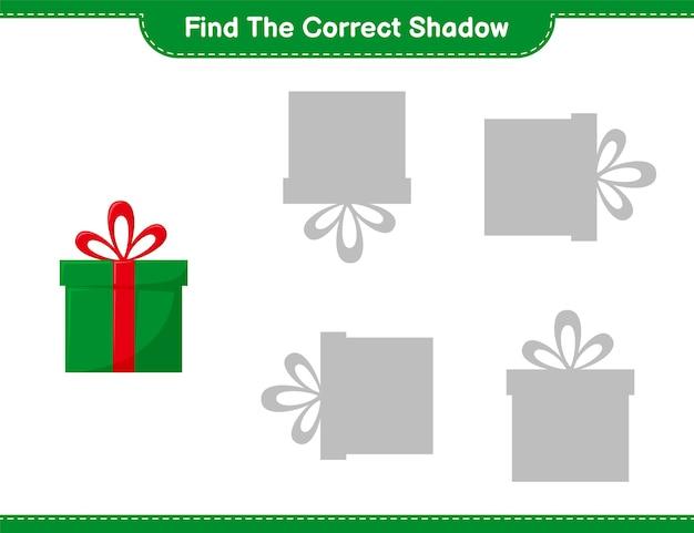 Trouvez la bonne ombre. trouvez et associez l'ombre correcte des coffrets cadeaux. jeu éducatif pour enfants