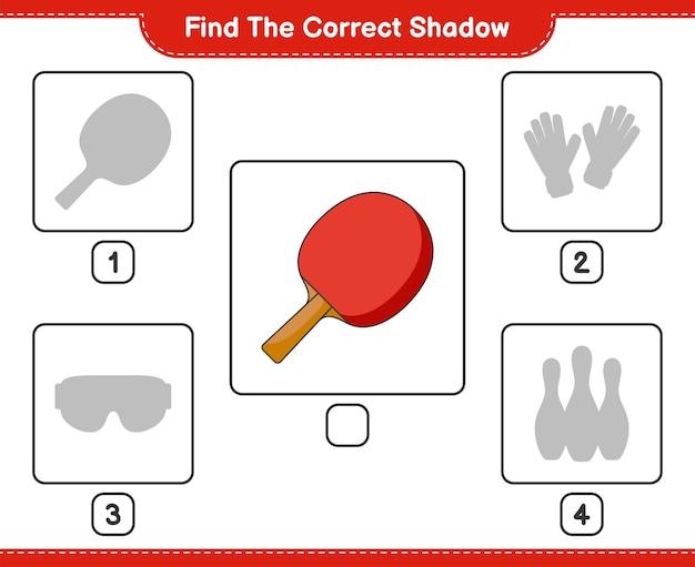 Trouvez la bonne ombre trouvez et faites correspondre la bonne ombre de la raquette de ping-pong