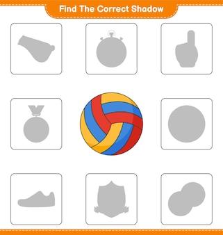 Trouvez la bonne ombre. trouvez et faites correspondre la bonne ombre de volleyball. jeu éducatif pour enfants