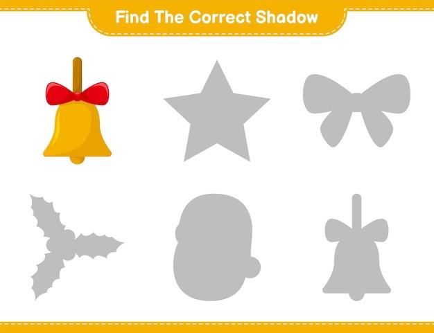 Trouvez la bonne ombre. trouvez et faites correspondre l'ombre correcte des cloches de noël dorées. jeu éducatif pour enfants