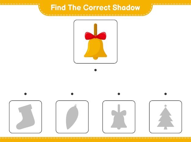 Trouvez la bonne ombre. trouvez et faites correspondre l'ombre correcte des cloches de noël dorées.
