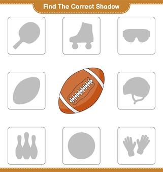 Trouvez la bonne ombre. trouvez et faites correspondre l'ombre correcte du ballon de rugby. jeu éducatif pour enfants