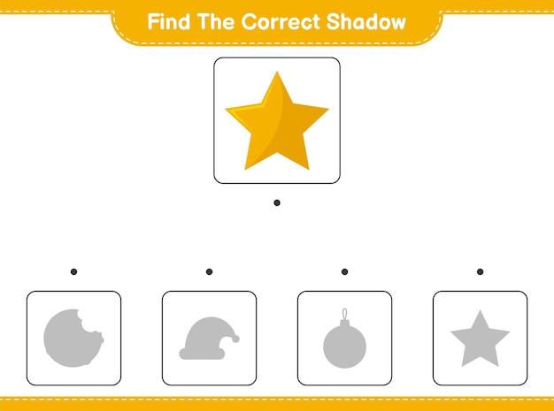 Trouvez la bonne ombre. trouvez et faites correspondre l'ombre correcte des étoiles.