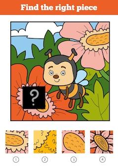 Trouvez la bonne pièce, jeu de puzzle pour les enfants. abeille et fond