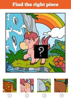 Trouvez la bonne pièce, jeu de puzzle pour les enfants. petite licorne et fond de fée