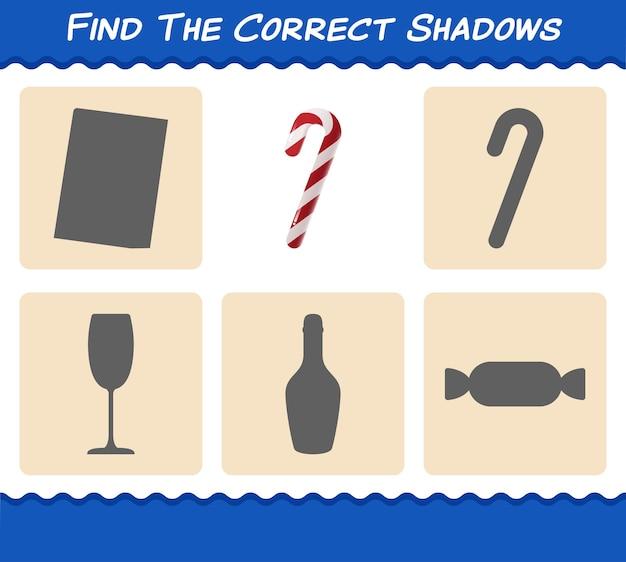 Trouvez les bonnes ombres de canne en bonbon. jeu de recherche et d'association. jeu éducatif pour les enfants et les tout-petits de la maternelle