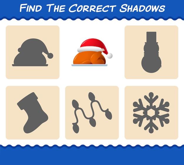 Trouvez les bonnes ombres de dinde. jeu de recherche et d'association. jeu éducatif pour les enfants et les tout-petits de la maternelle