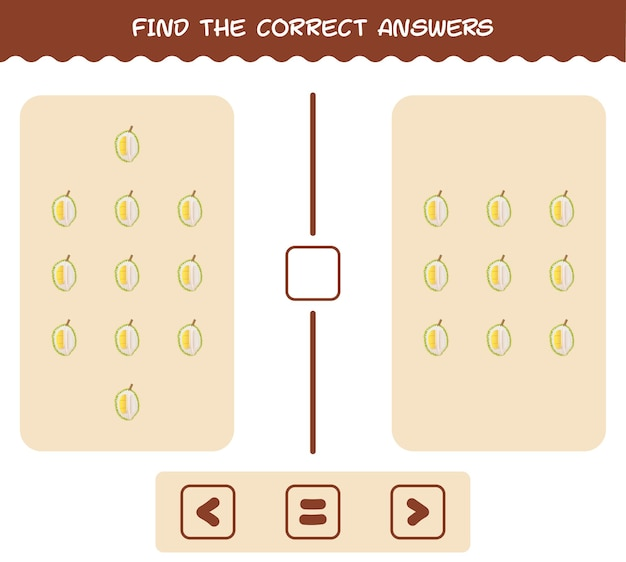 Trouvez les bonnes réponses de dessin animé durian. jeu de recherche et de comptage. jeu éducatif pour les enfants et les tout-petits de la pré-école