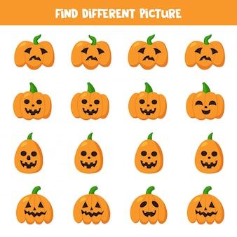 Trouvez la citrouille d'halloween qui est différente des autres.