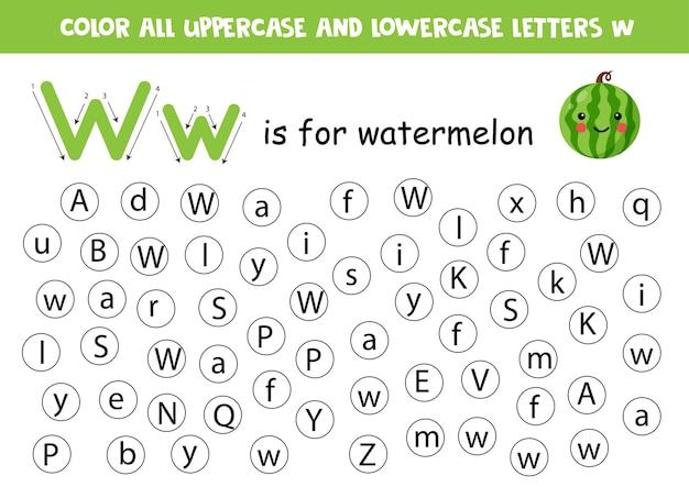 Trouvez et coloriez toutes les lettres w. feuille de travail pédagogique pour apprendre l'alphabet. w est la pastèque.