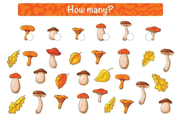 Trouvez et comptez le jeu éducatif pour enfants avec forest mushrooms. style de bande dessinée. combien compter gamey pour les enfants avec des champignons comestibles. casse-tête préscolaire. fiche pédagogique. vecteur premium