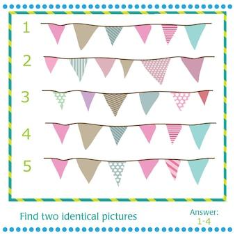 Trouvez deux images identiques - drapeaux vectoriels