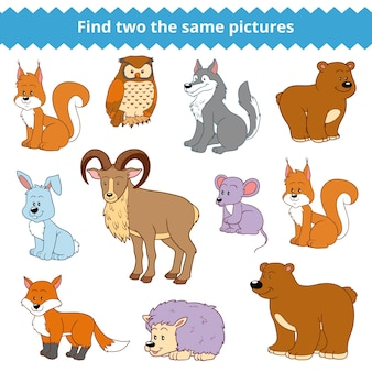 Trouvez deux images identiques, jeu éducatif pour enfants, ensemble vectoriel d'animaux de la forêt