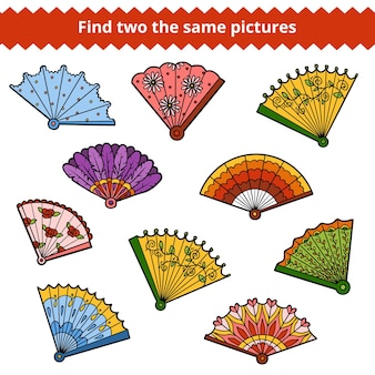 Trouvez deux images identiques, un jeu éducatif pour les enfants, un ensemble vectoriel de fans