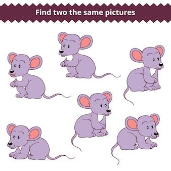 Trouvez deux images identiques, jeu éducatif pour enfants, souris