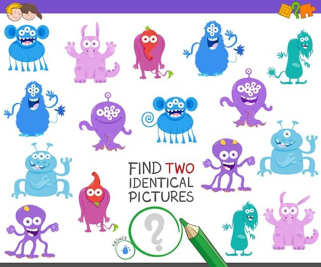 Trouvez deux images identiques avec des monstres