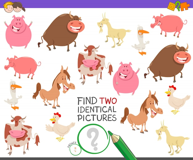 Trouvez deux images identiques pour les enfants avec des animaux de la ferme