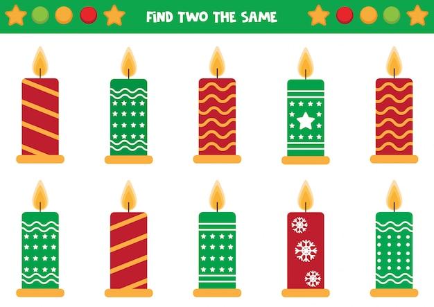 Trouvez deux mêmes bougies, jeu pour les enfants.