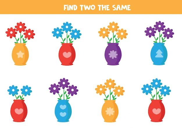 Trouvez deux mêmes fleurs dans un vase.