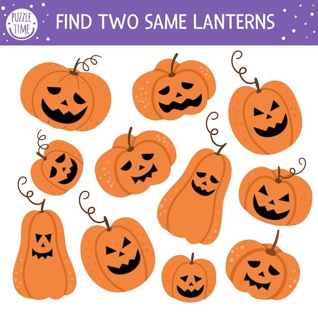 Trouvez deux mêmes jack-o-lanternes. activité d'appariement d'halloween pour les enfants. feuille de travail de quiz logique d'automne éducatif amusant pour les enfants. jeu imprimable simple avec des lanternes citrouilles effrayantes