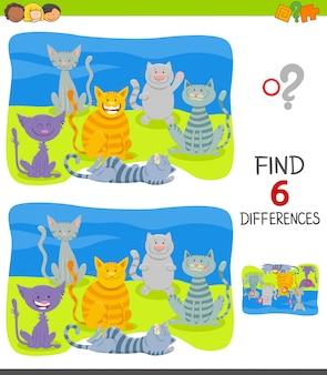 Trouvez les différences jeu éducatif avec des chats