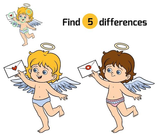 Trouvez les différences, jeu éducatif pour les enfants, angel